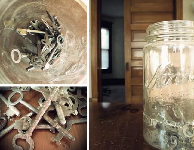 Skeleton keys in a mason jar